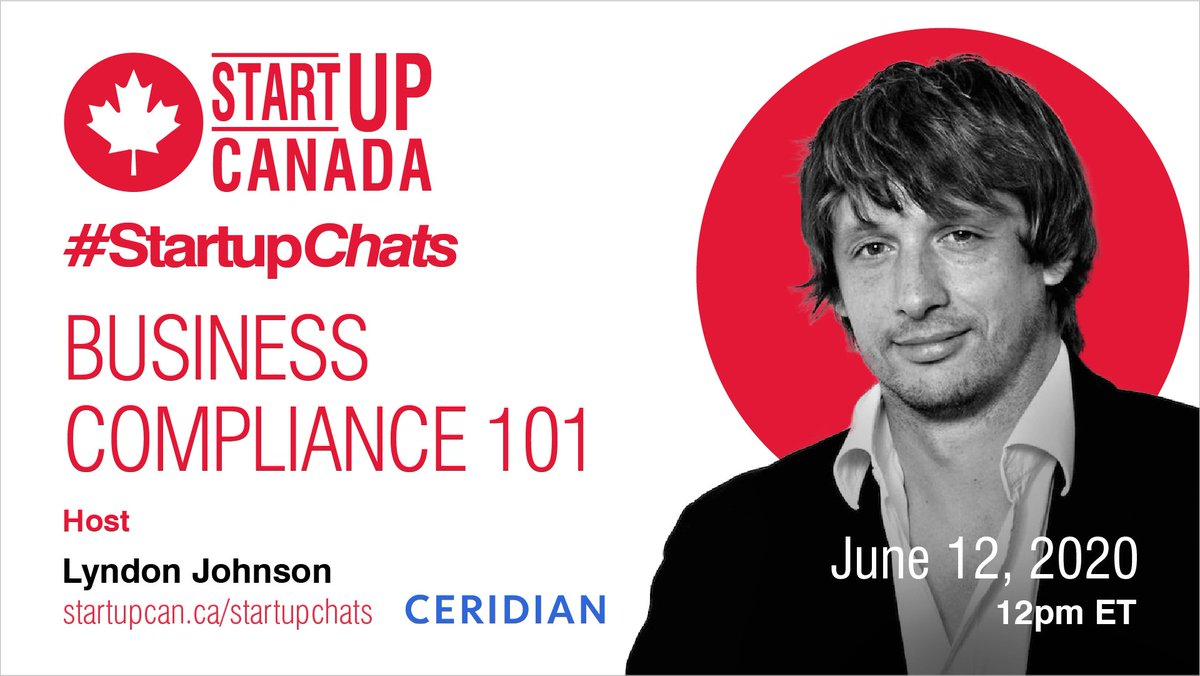 Want to grow your business, share knowledge and network online? Join #StartupChats on June 12th with @Ceridian #Powerpay and host @THINK_Lyndon to learn about 'Business Compliance 101'! Register now at https://t.co/mp2k8373Wi https://t.co/c0Oa38Fplp