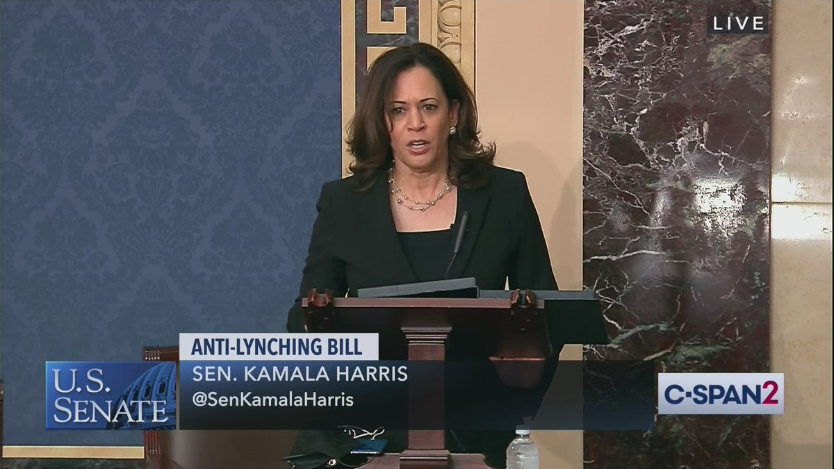 .@SenKamalaHarris on Anti-Lynching Bill Amendment: Senator Paul is now trying to weaken a bill that was already passed. Theres no reason for this...there is no reason other than cruel and deliberate obstruction on a day of mourning. Full video here: cs.pn/2MrYg10