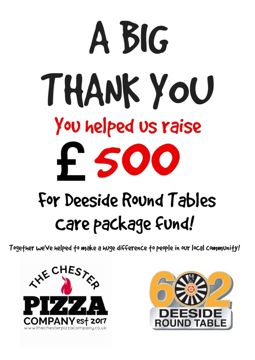 A huge thank you to @chesterpizzaco for raising an awesome £500 for our Covid care packs 👏. Despite having all of their own events cancelled due to Covid_19, they continue to support local communities 👏👍. #DoMore #Respect