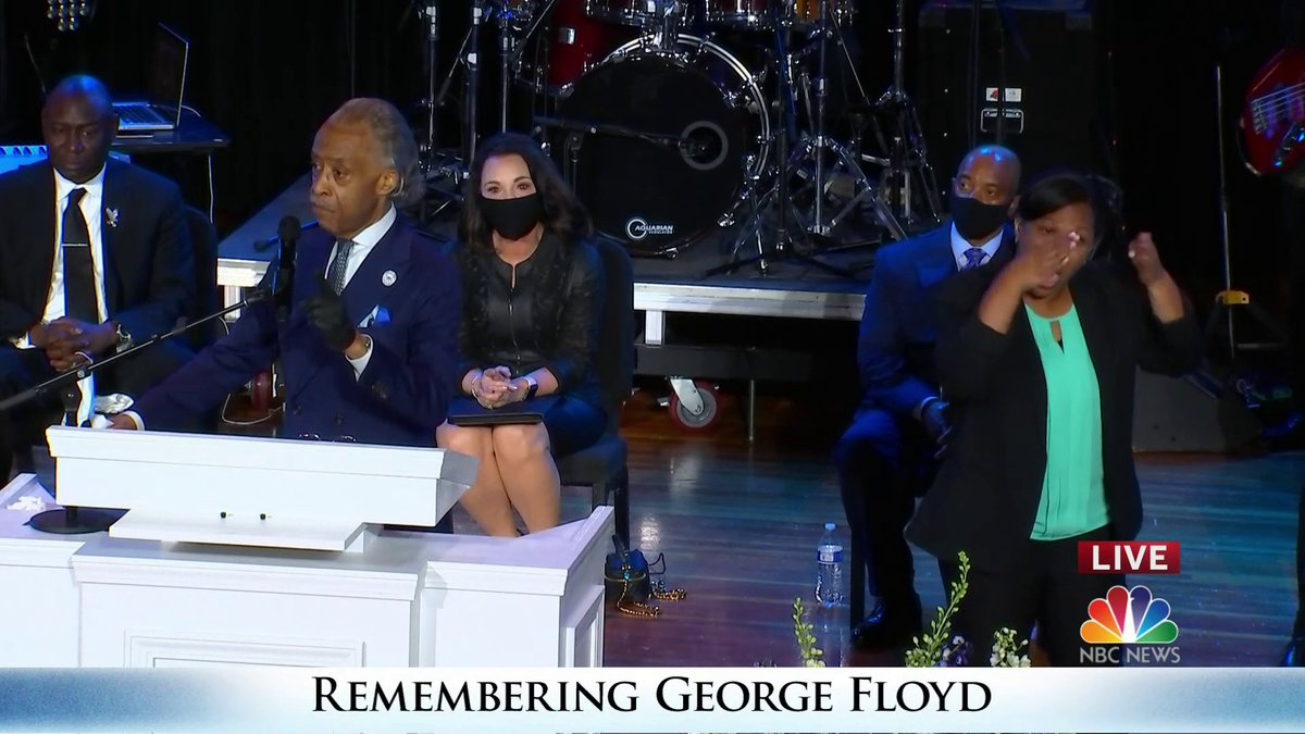 """""""We cannot use bibles as a prop. And for those that have agendas that are not about justice, this family will not let you use George as a prop."""" @TheRevAl delivers the eulogy at George Floyd's memorial service."""