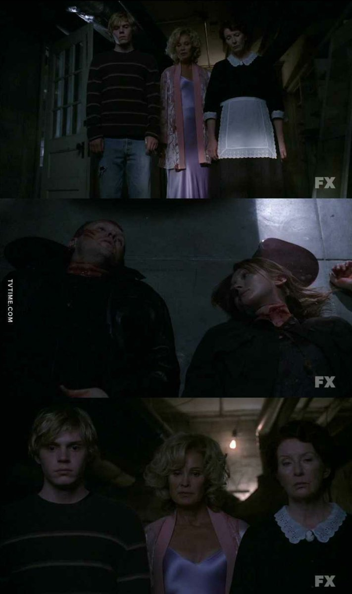 Thankfully it calmed down in terms of the crappy editing & the shitty camerawork. Zoom-ins too, jesus. My guy was on one when he was filming this, anyway, good E2 & even more interesting. #americanhorrorstory <br>http://pic.twitter.com/CR7kIs3Y4k