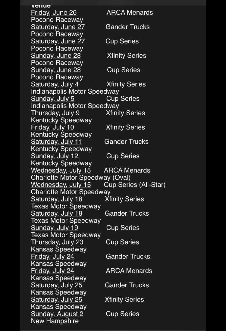 NASCAR sked through Aug. 2. No mention of spectators