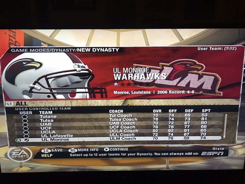 Starting an NCAA Football 2008 dynasty with Louisiana Monroe, going to stay with this team on Heisman mode and see how much I can build them up https://t.co/Xl9i9TPF5m