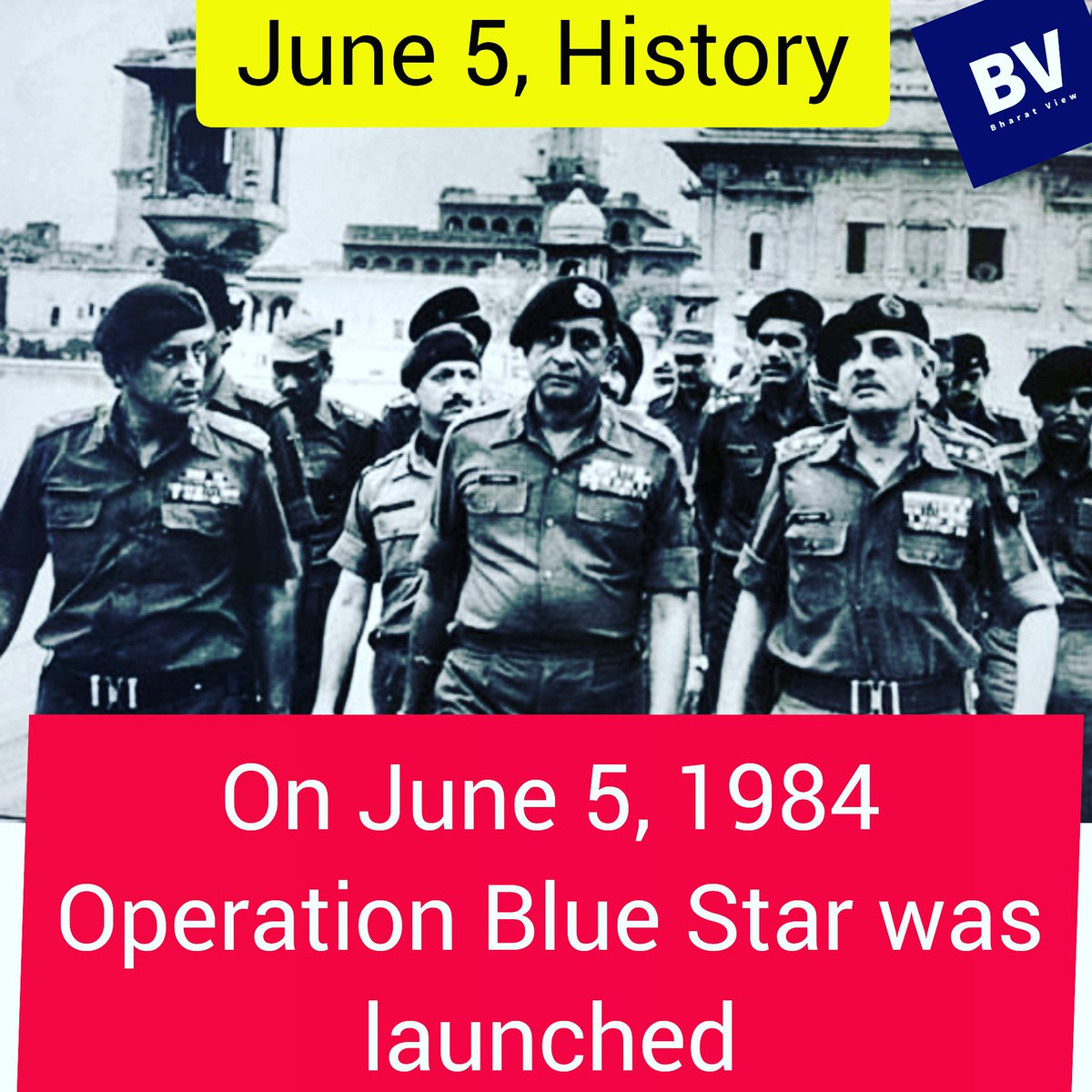 On June 5, 1984 the Operation Blue Star was launched..  #operationbluestar #surgicalstrike #khalistan #indianarmy #army #sikh #bharatview #bharatviewlive #news #newschannel #hindinews #youtubenews #media #socialmediapic.twitter.com/8qpUEd8QVt