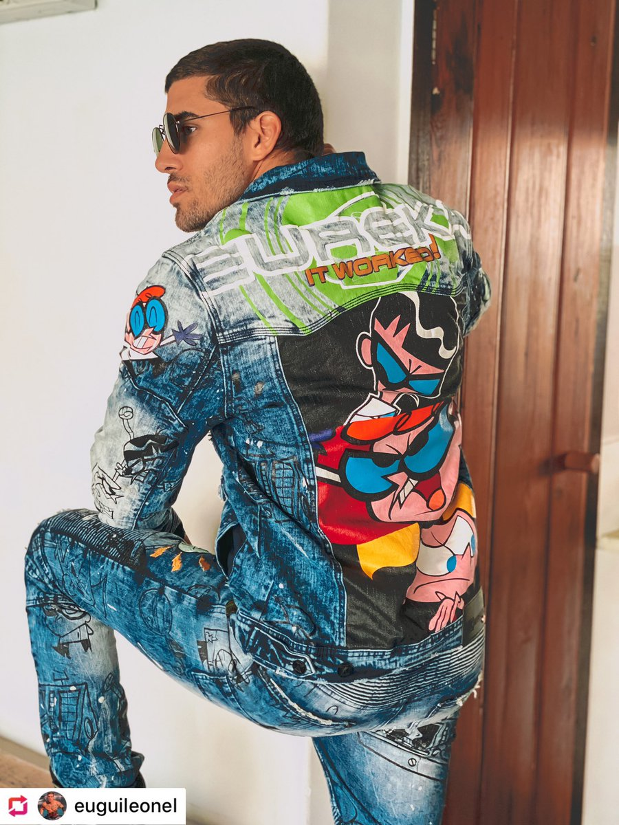 @euguileonel Rocking Our @cartoonnetworkofficial Dexter's Laboratory  Denim Set   Save 25% - 40% OFF Your Order Now! http://www.deKryptic.com  #CartoonNetwork #DextersLaboratory #deKryptic #AR #AugmentedReality #DenimSet #DenimJacket #Jeans #Style #Fashionpic.twitter.com/rCpl9UyagL