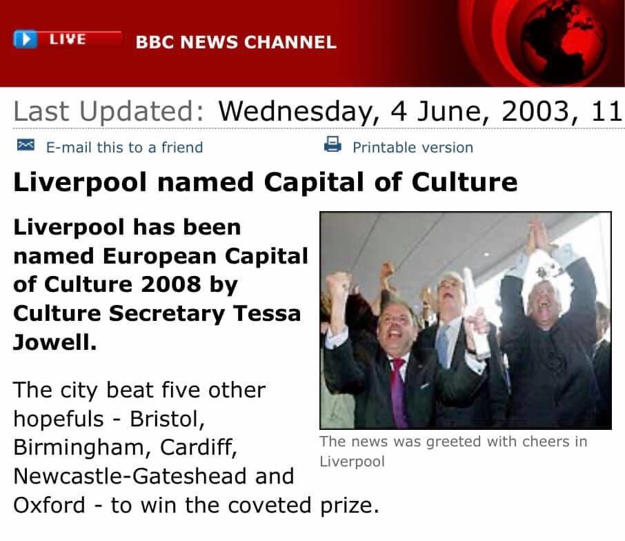 """#TBT to 4th June 2003 """"The world in one city"""" won Capital of Culture. Leader of Liverpool City Council Mike Storey said: """"It's Liverpool winning the Champions League, Everton winning the double and the Beatles reforming all on the same day....."""" <br>http://pic.twitter.com/YLN3tdpA2j"""