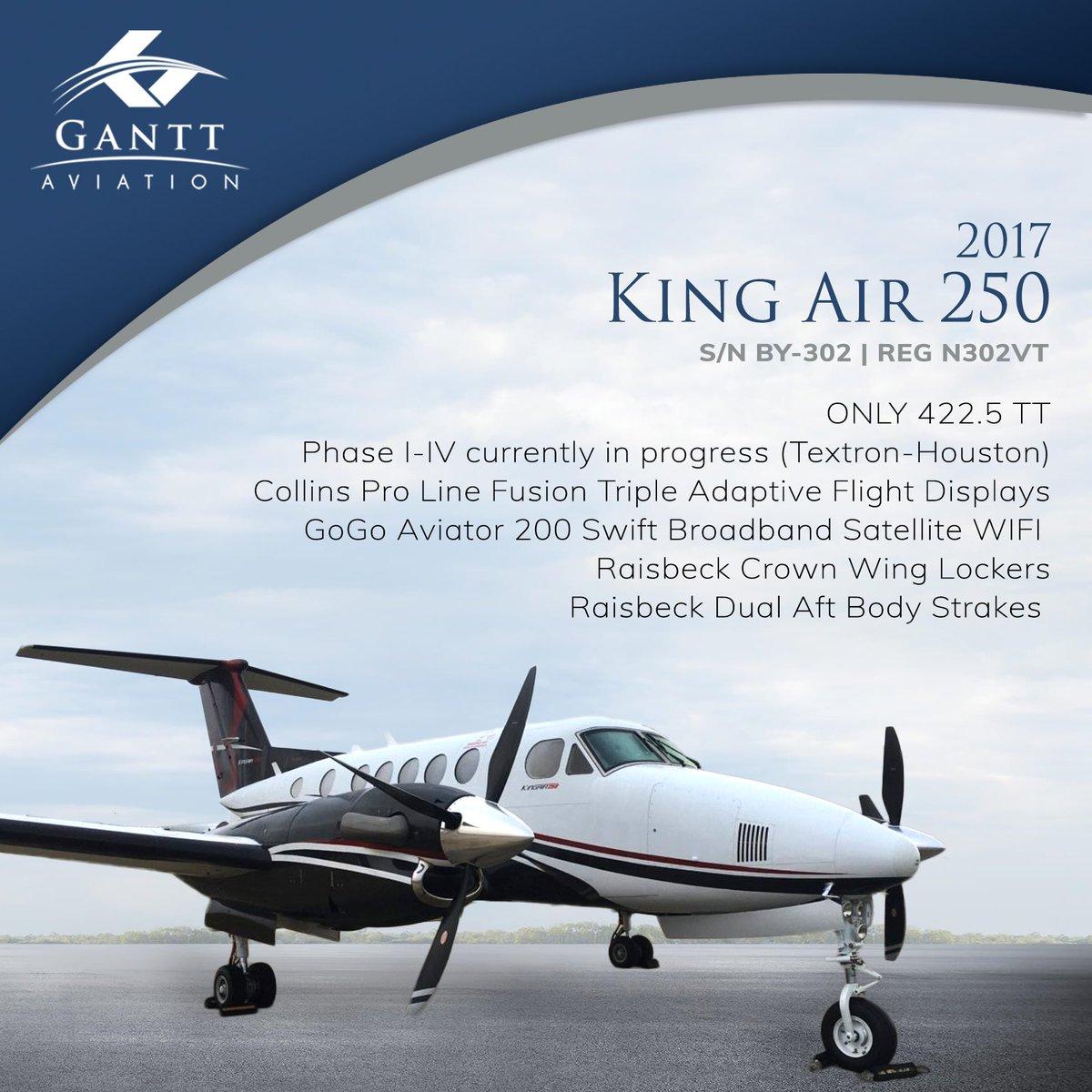 2017 King Air 250 for sale with Gantt Aviation.  Aircraft features fresh inspections , Triple Proline 21 flight displays as well as Swift broadband. For fulls specification visit https://t.co/HFQs4fUkfs  #bizjet #kingairnation #pilot https://t.co/vab6j9rXVz