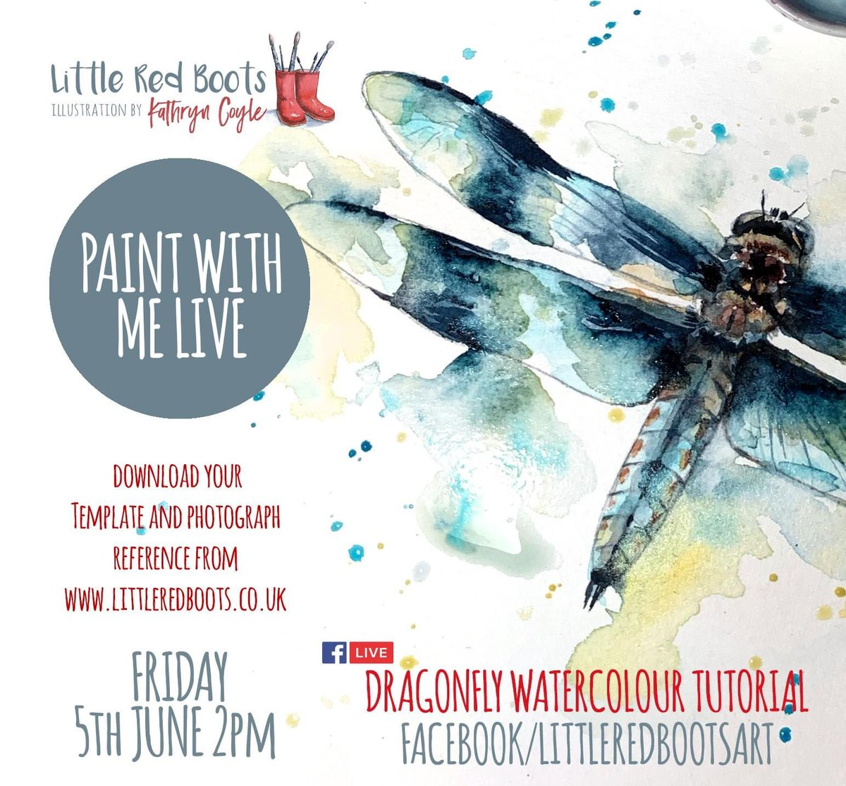 Paint with me live tomorrow on facebook at 2pm  http://www.littleredboots.co.uk/tutorials.html for more info #dragonfly  #learntopaint #watercolorpainting #watercolours #watercolor_guide #artlesson #artistsoninstagram #watercolourtutorial #homeschoolsupport #artlessononline #artonlinepic.twitter.com/6LRRq178Zg