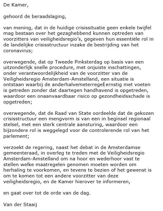 .@keesvdstaaij diende zojuist deze motie in. Vraagt onder meer te bezien of het gewenst is om tot een andere voorzitter van de veiligheidsregio Amsterdam-Amstelland te komen. #coronadebat https://t.co/7yHgyFzasX