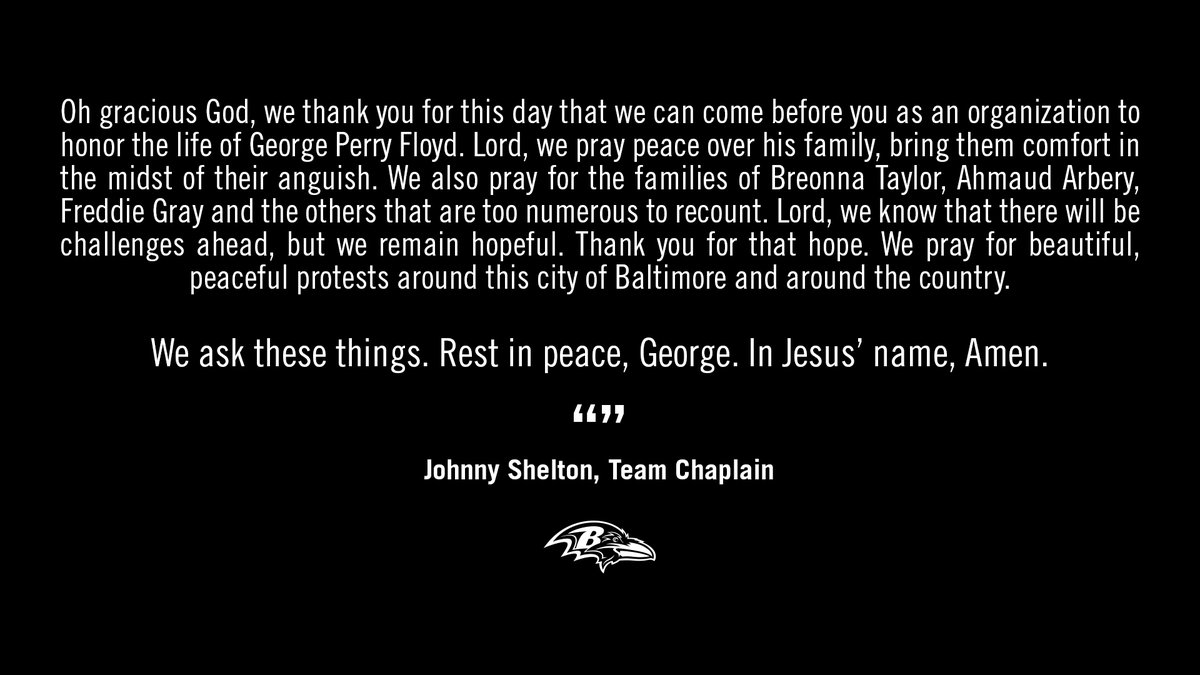 A prayer from Team Chaplain Johnny Shelton before today's moment of silence.