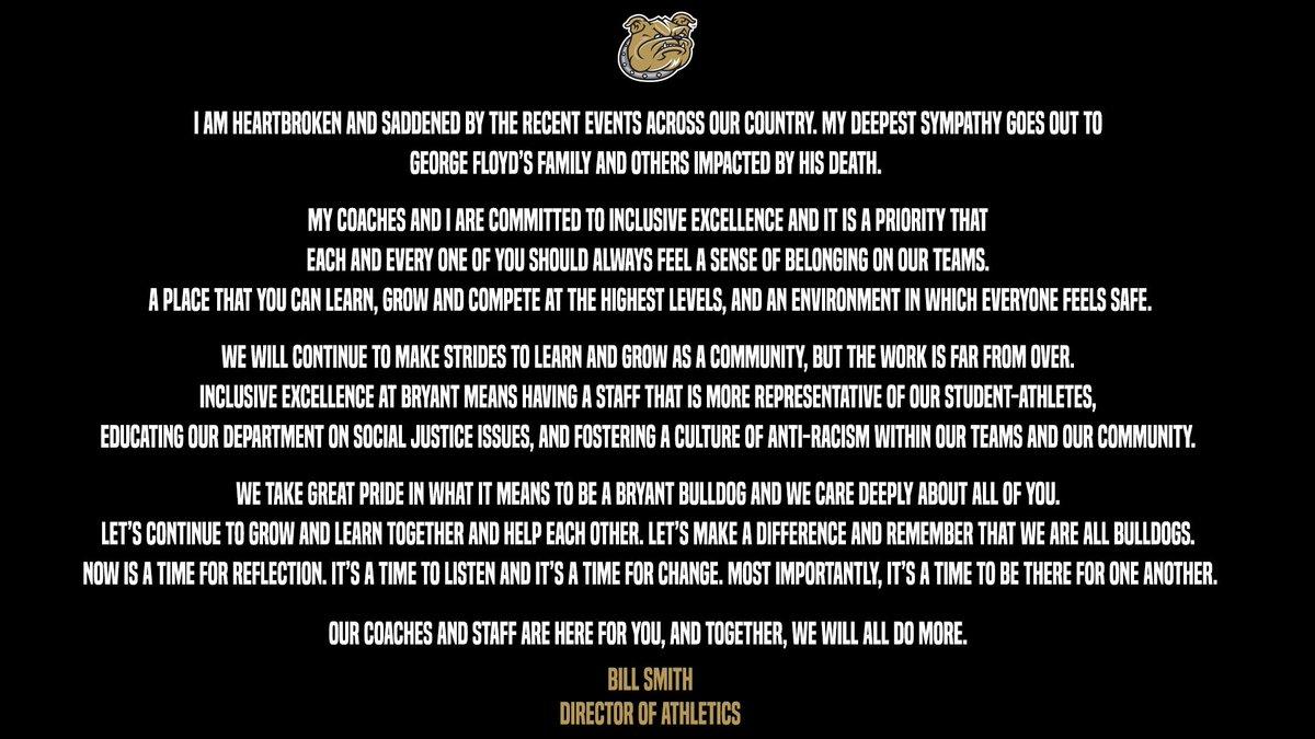 A statement from @BryantAthletics https://t.co/rjFdSi3IFS