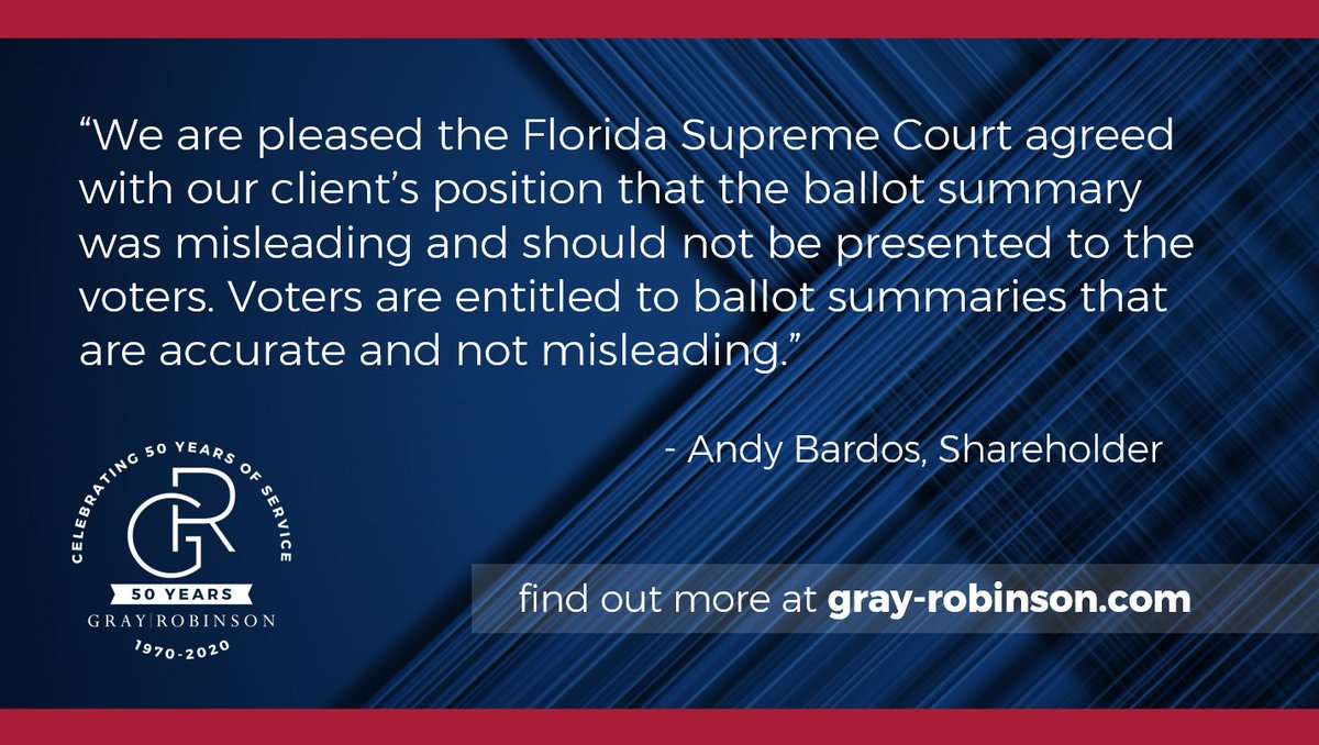 Attorneys Andy Bardos, Ashley Hoffman Lukis, George Levesque and Jason Unger secured a 4-1 Florida Supreme Court victory on June 4, 2020. Read more in the link below. #FlaPol #sayfie   https://t.co/HsYPzhu6hb https://t.co/wskSlzb1aG