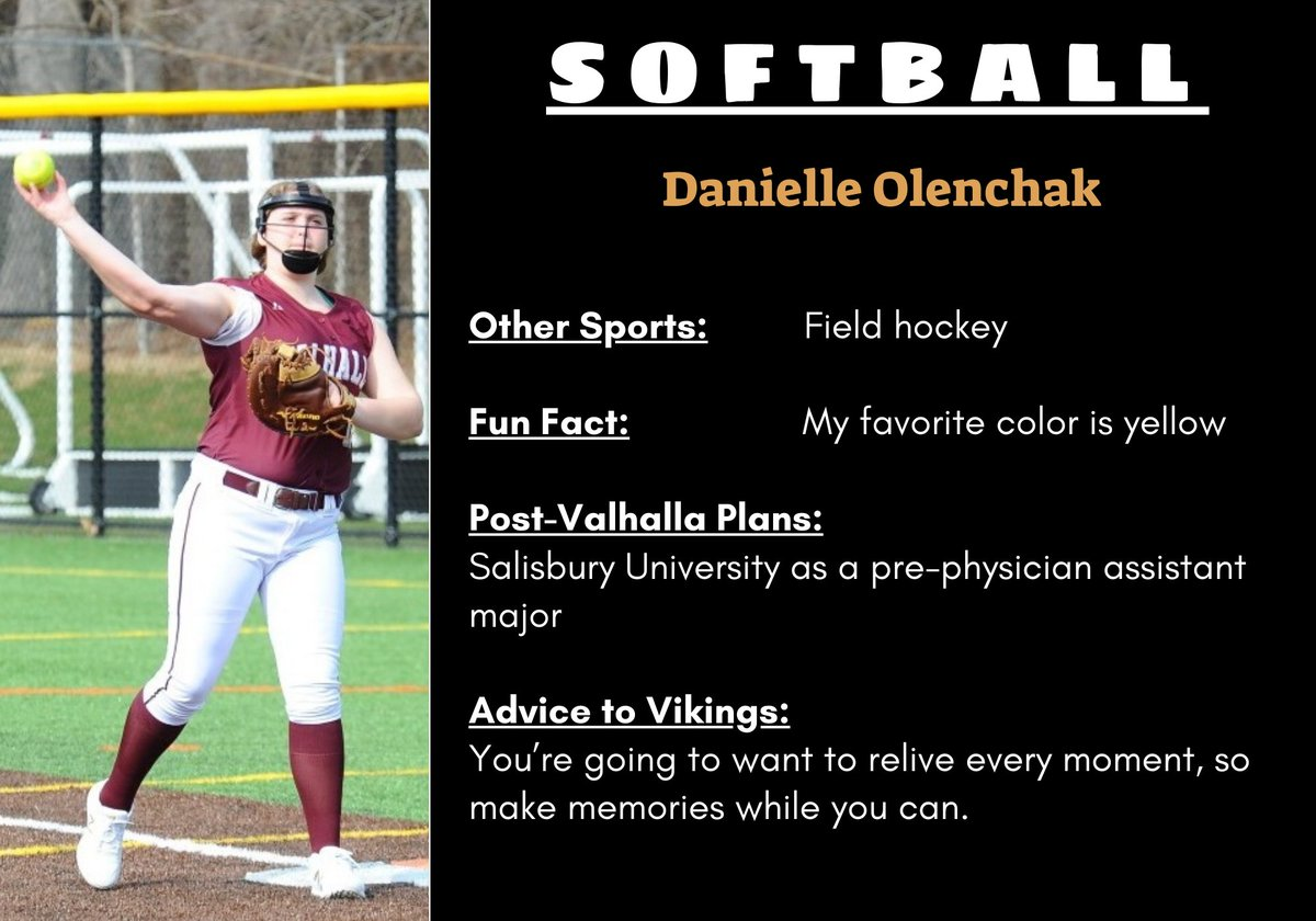 SPRING SPORT SENIORS at 6: Clap your hands excitedly for a member of our varsity girls softball team: DANIELLE OLENCHAK! Until the end of the week, we'll be celebrating the senior-athletes from the Spring 2020 season every day at 6 p.m. https://t.co/uEc7w0YPAq