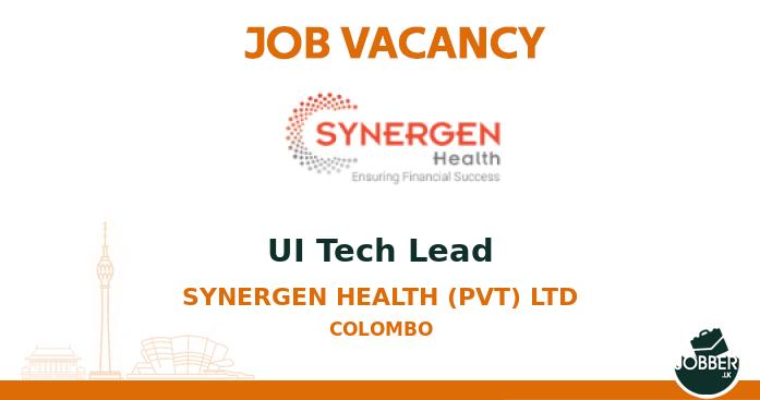 Job vacancy UI Tech Lead from Synergen Health (pvt) Ltd. To Apply : https://t.co/DXGlZld8qs . #jobsInSriLanka #sriLanka #sriLankan https://t.co/DJrEnUFwp9