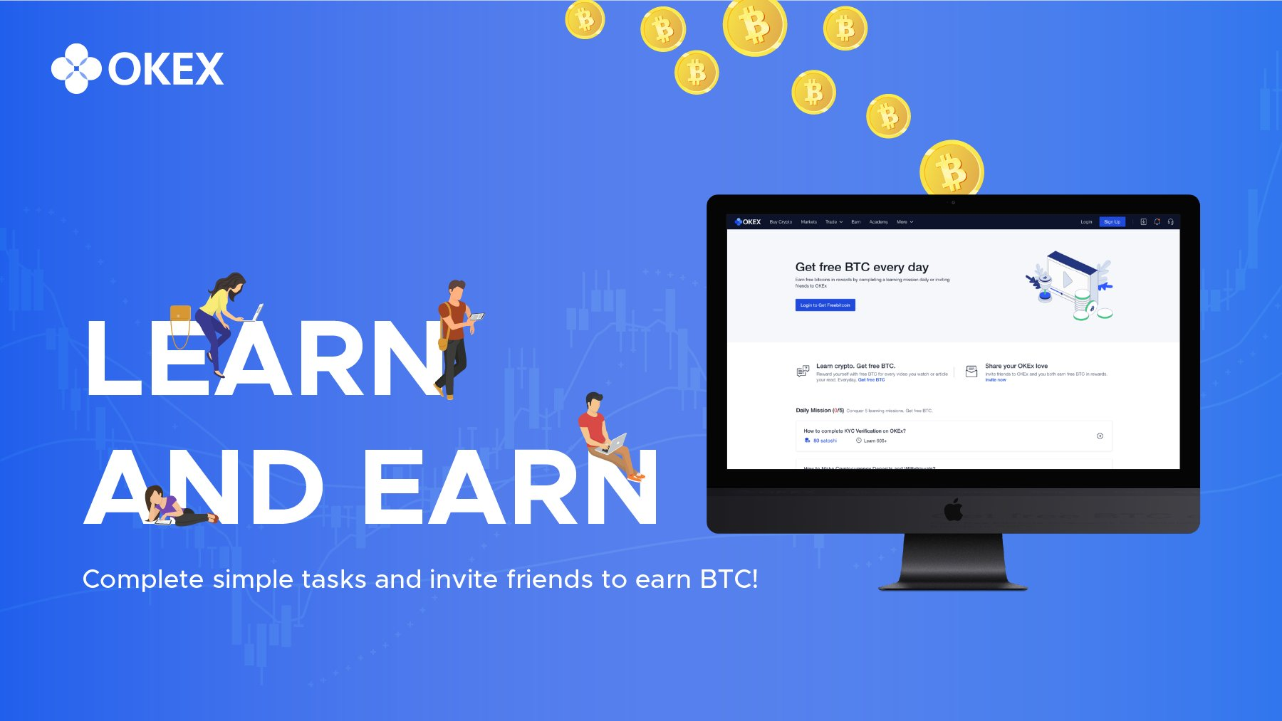 """OKEx on Twitter: """"LEARN & EARN: What's better than learning about #crypto,  #blockchain & @OKEx products? Earning #Bitcoin at the same time 💰!  Complete daily learning missions by reading/ watching tutorials on #"""