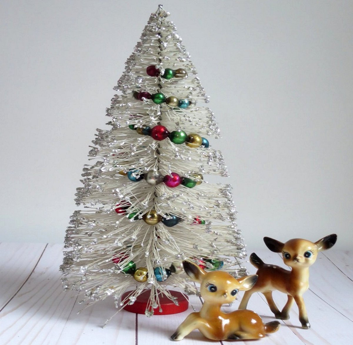 "Holiday Bottle Brush Tree w Glass Garland, Vintage 12 1/2"" Bottle Brush Tree, Putz Village, Centerpiece, Dollhouse   3  #VintageFinds #ShopSmall #TMTinsta #Sale"