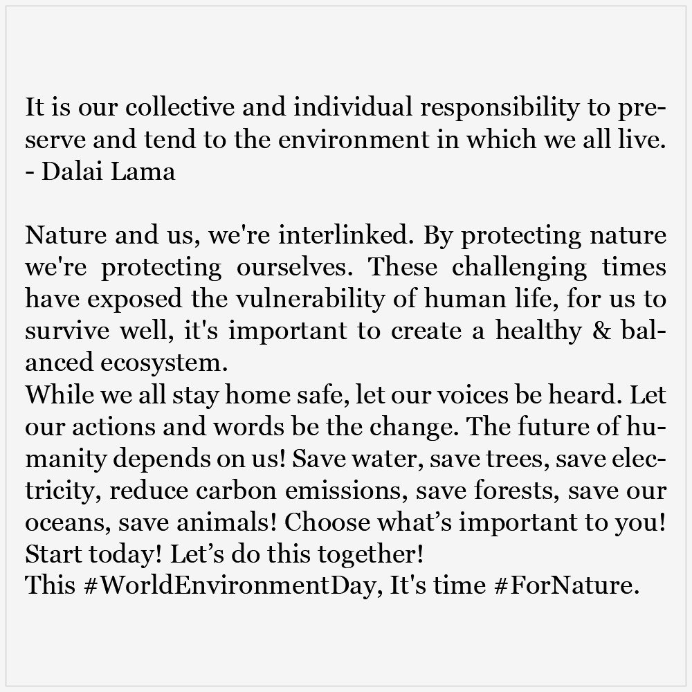 It's time #ForNature. #WorldEnvironmentDay #StayHomeStaySafe https://t.co/hLZ8pLWjbr