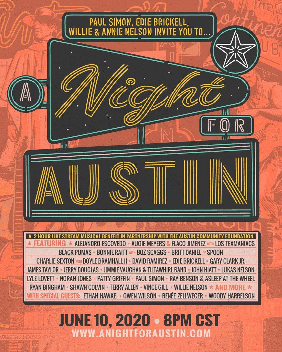 On June 10th, James joins @PaulSimonOfficial & @AustinCommunityFDN on #ANightForAustin, a one-of-a-kind virtual concert. Features @BonnieRaittOfficial, @JerryDouglas, @VGcom, @Shawn_Colvin, @NorahJones, @LyleLovett & many, many more.