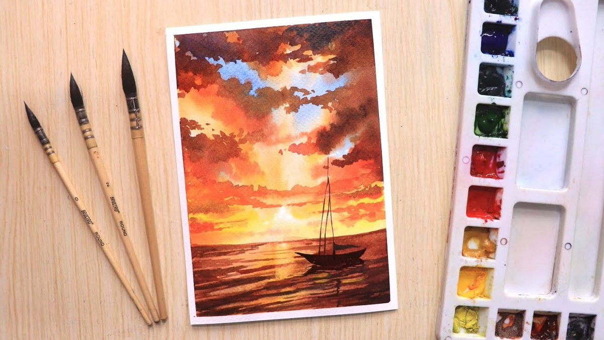 Video by Draw with Shiba Watercolor painting for beginners' beautiful sunset and boat, was to day´s pick. Been a sucker for watercolor paintings lately. And since its early summer here in Iceland the sunsets and rises are simply breathtaking.  #artlesson # https://hildurko.com/learn-to-paint-a-beautiful-sunset-and-boat/… pic.twitter.com/ROdFvZOxHc