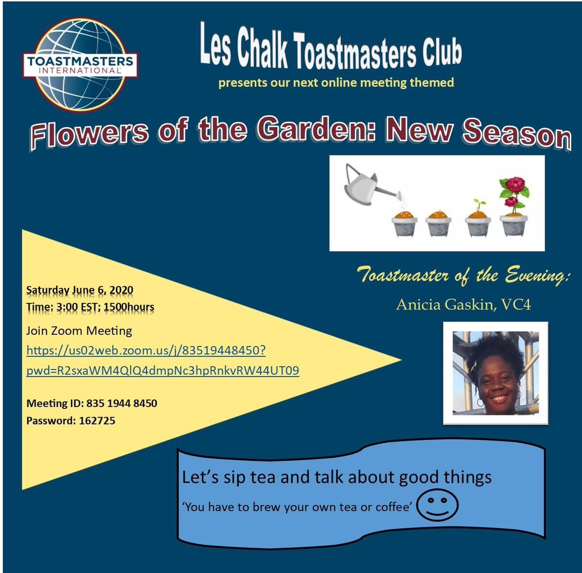 Have a  with us at our meeting this Saturday at 3 pm AST! See you there! #Toastmasters #Publicspeaking #Leadershippic.twitter.com/0ZUBRIjXmm