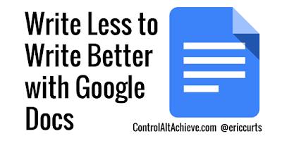 Have Students Write Better by Writing Less with Google Docs https://t.co/dnyGnCPlwr #ControlAltAchieve https://t.co/APduzIQfbp