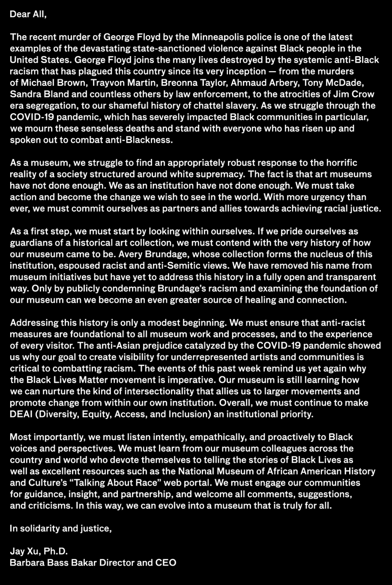 Asian Art Museum V Twitter Black Lives Matter A Letter From Museum Director Jay Xu Link For Talking About Race Web Portal Resource Mentioned Below From Nmaahc Https T Co Pcaeomvqhm Https T Co 29ybrsgig6