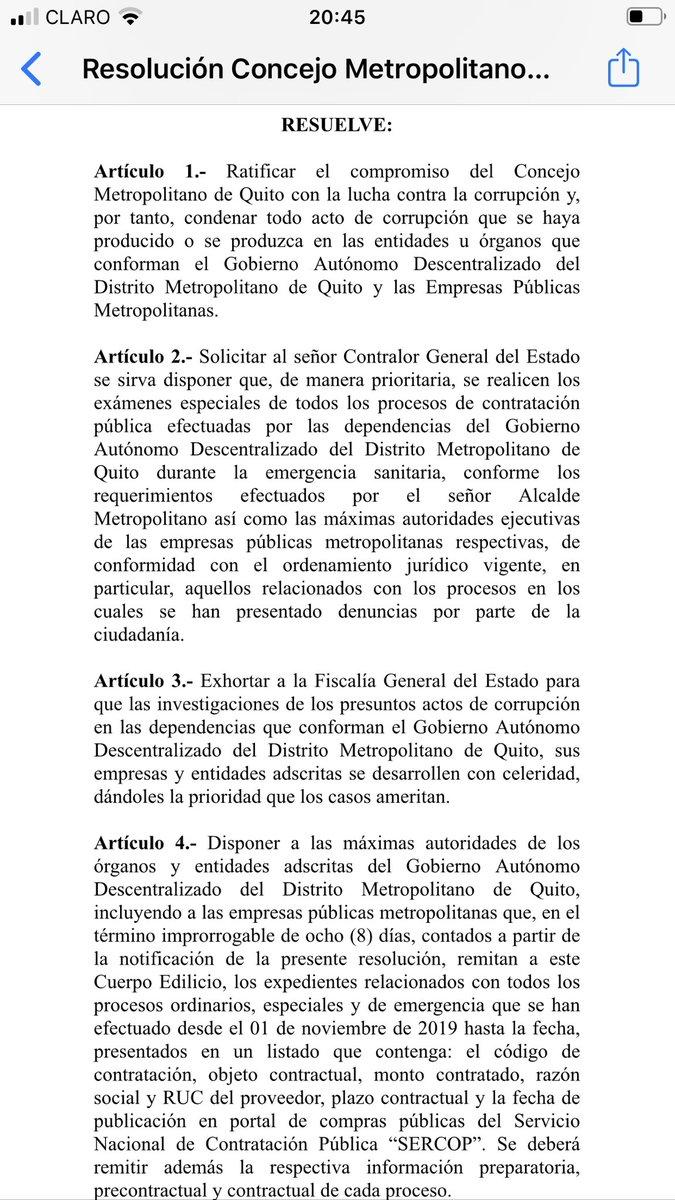 Esta resolución de la concejal  Luz Elena Coloma aprobó el Concejo Metropolitano hoy. Se pide a Contraloria que examine todos los contratos del Municipio https://t.co/GeCg88QrE7