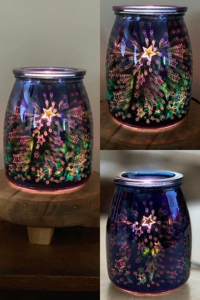 Light up the night with the flip of a switch. An indigo sky comes alive with layers of etched detail that give the illusion of shooting stars when lit — just like summertime magic.  10% Off in June only!    #scentsy #summernights #summer #night #warmers