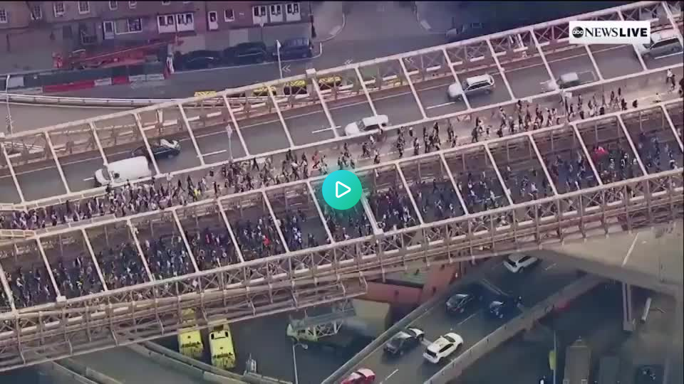 #Gif #fun  Thousands march across the Brooklyn Bridge following the George Floyd memorial service