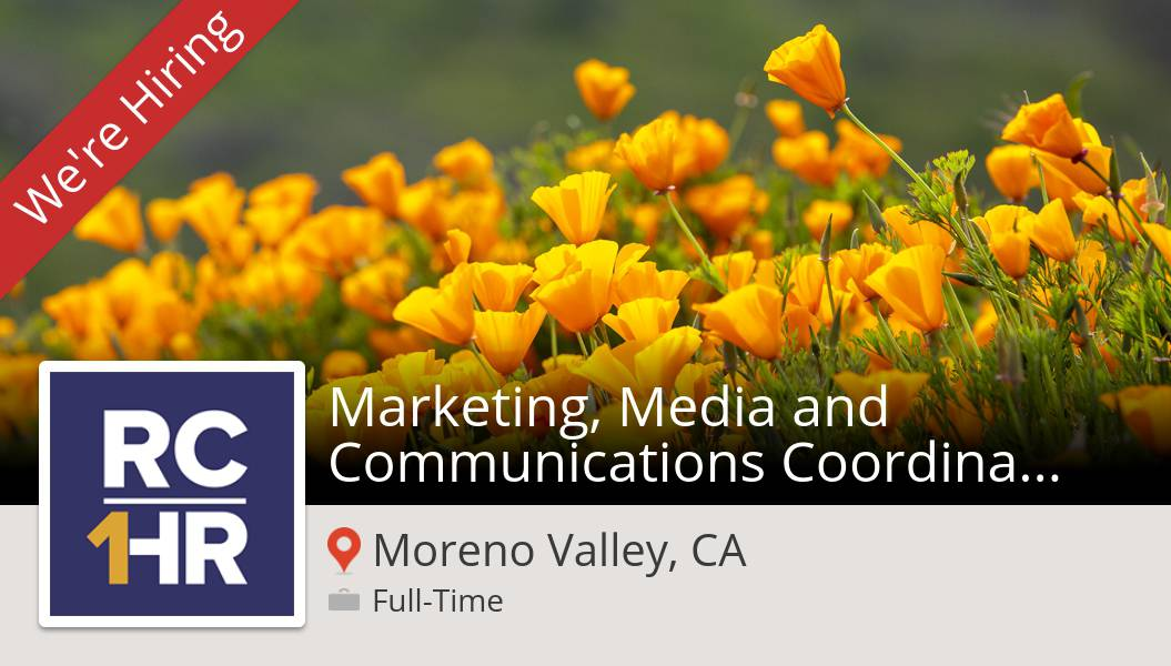 Apply now to work for #CountyofRiverside as Marketing, Media and #Communications #Coordinator (RUHS) in #MorenoValleyCA! #job https://t.co/bWgaz01R1U #RivCo1HR https://t.co/xnEHyCM5N9