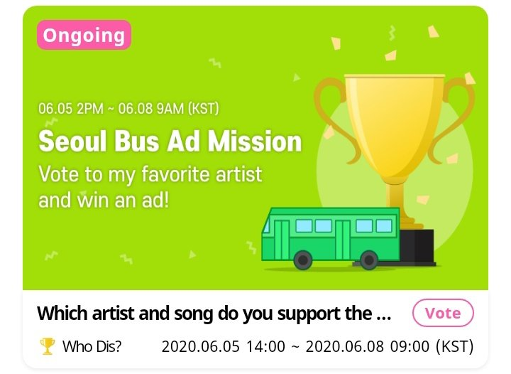 There is also an on-going voting on Whosfan app where the Top 3 would get a Seoul Bus Ad. MORE & MORE is currently at #5, this is where you can use the credits you collected. Voting will end on June 08. 1 acct can vote 5x. @JYPETWICE #TWICE