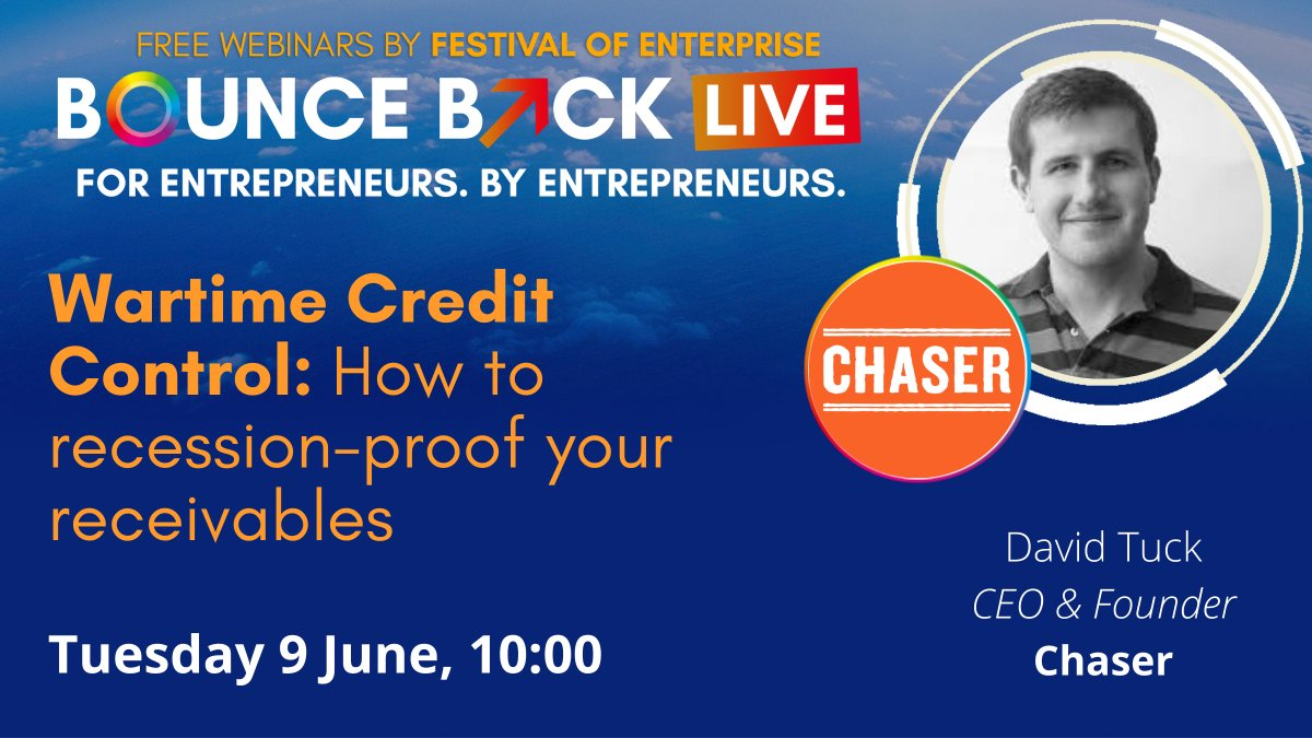 We are in the #FestivalofEnterprise Bounce Back webinar series from @EnterpriseExpos 📢 Join us at 10am on Tuesday, 9th June as @chaser_david gives credit control advice to help your business bounce back after Covid-19 https://t.co/fnuY5IfpLA  #RecessionProof #BusinessSupport https://t.co/9yajdh7oOV