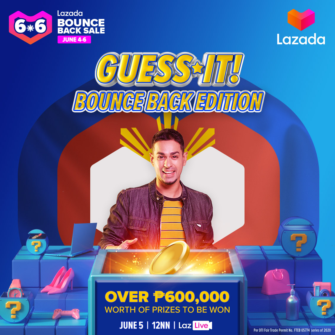 The GUESS IT! 6.6 Bounce Back edition is going LIVE in a FEW MINUTES! Plus, weve lined up BIGGER PRIZES and more chances of winning too! Set your alarms for 12NN and click lzd.co/GuessItBounceB… to catch your fave quiz show with @sam_yg! #LazGuessItPH #LazadaPH66