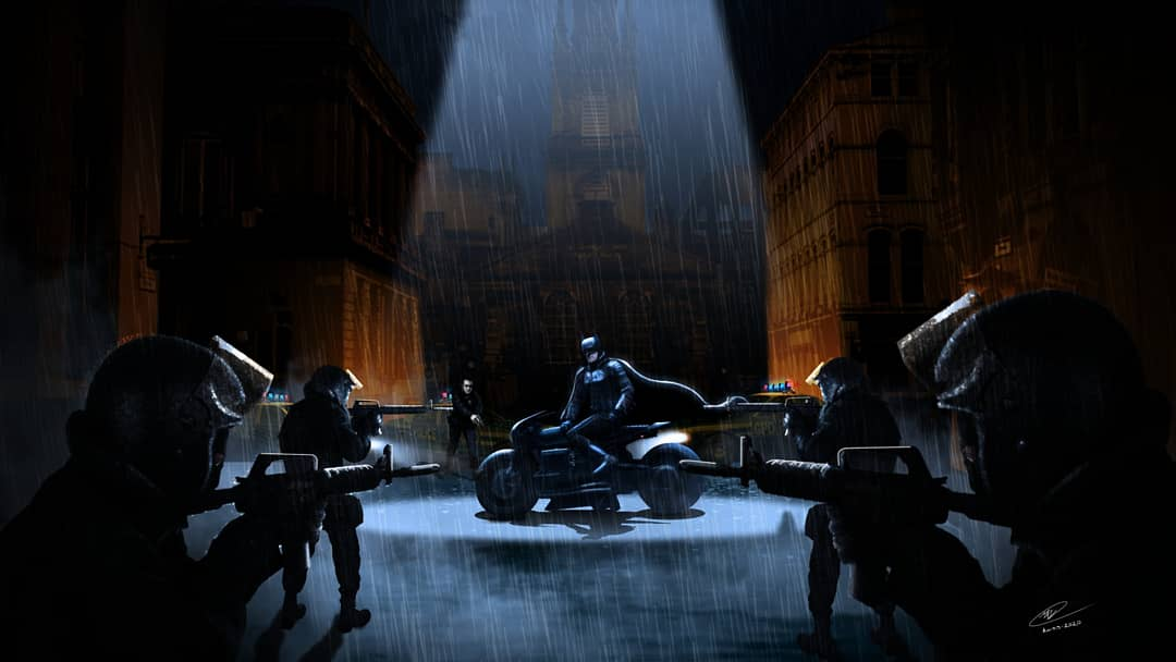 """we got him surrounded, he's out of the game""   Mattepainting practice :)  #mattepainting #conceptart #digitalart #digitalpainting #photoshop #thebatman2021 #robertpattinson #batman #fanart #mattreeves #scene #chase #bike #helicopter #lightning #lightpractice #dceu #dccomics #dc https://t.co/f4KZyVspks"