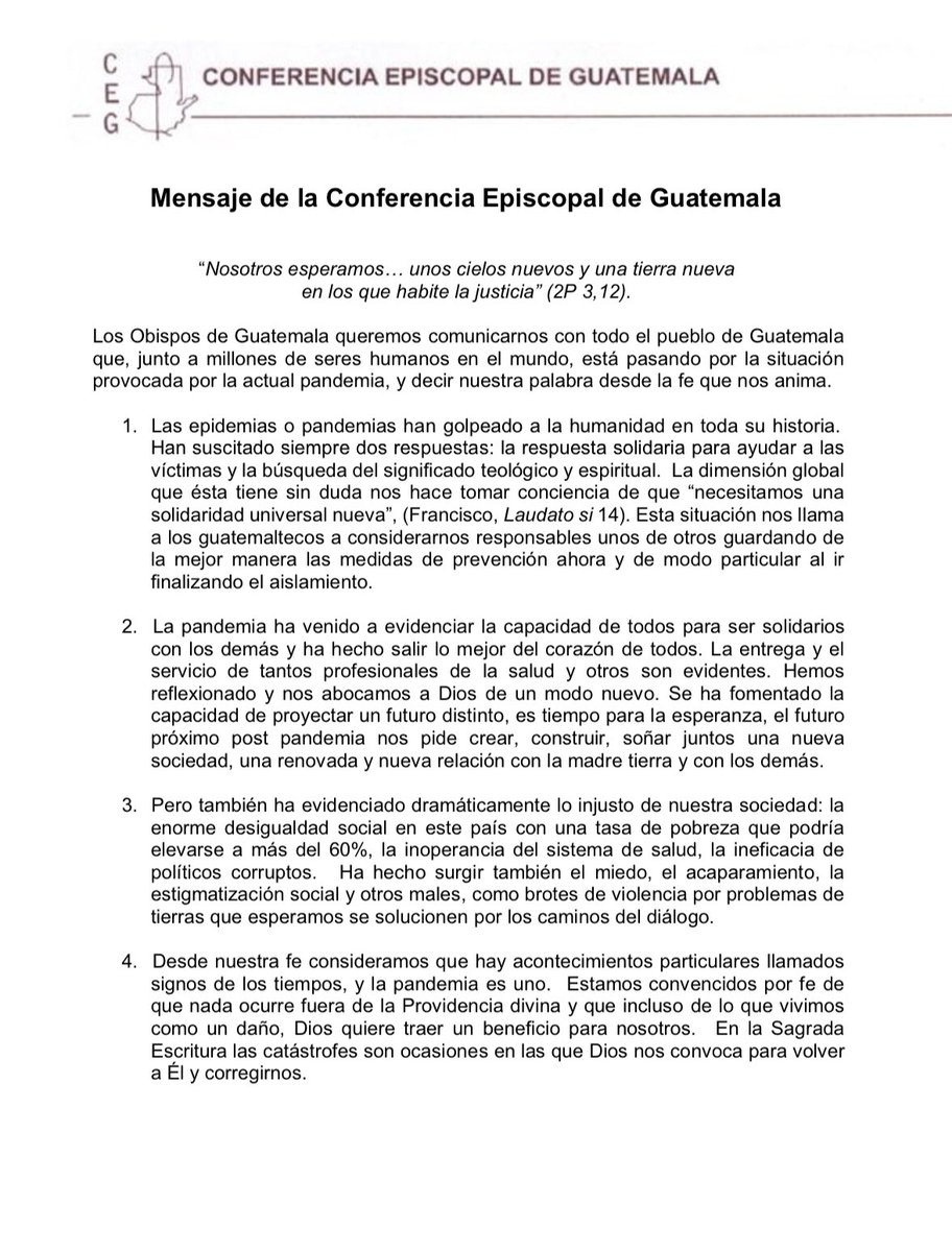 test Twitter Media - Mensaje de la Conferencia Episcopal de Guatemala por emergencia sanitaria en el país ⬇️ https://t.co/1TPvKwbeiu