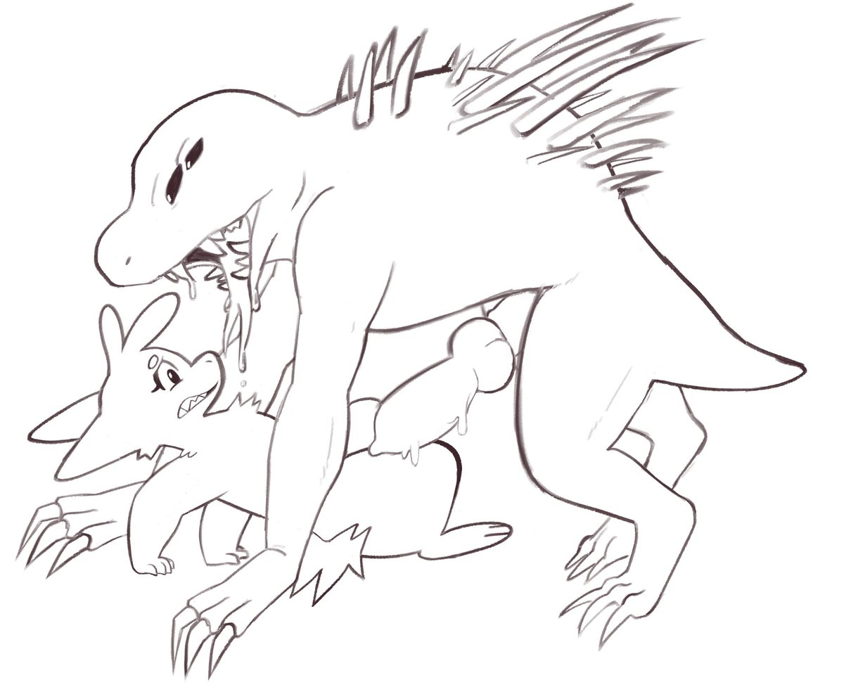 Self-indulgent Acrid doodle with Ember again xD.  I always have to scale him down since he's so big in the actual game x3 https://t.co/Rwvv4Fvury