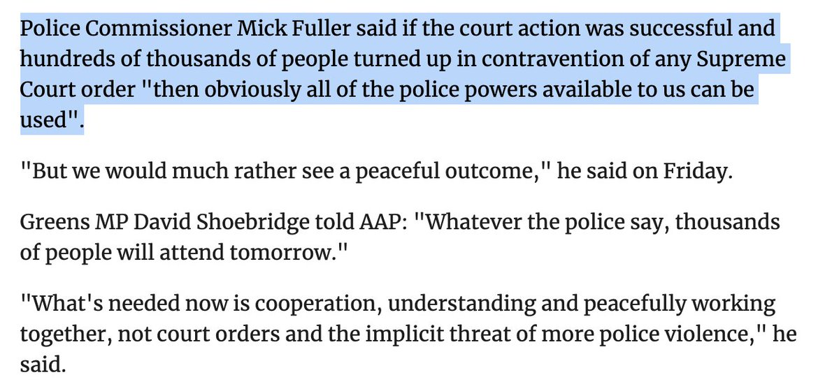 @nswpolice This from the Police Commissioner sounds a lot like a threat? https://t.co/o1Z6lQ2BNO
