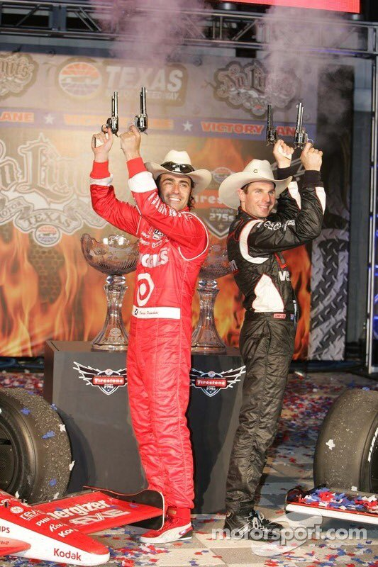 They were fierce rivals so this was a great double-header @IndyCar result at @TXMotorSpeedway in 2011. But even Will, while overjoyed at his first oval win, felt sorry for Dario that the second race's grid was decided by lottery (!) and the Ganassi driver started near the back.