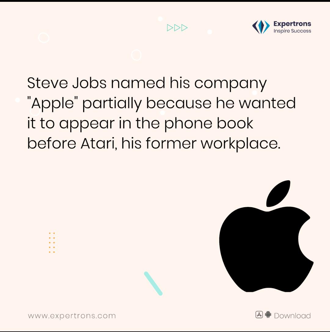 """Steve Jobs thought of """"Apple"""" as a fun, spirited, and not intimidating name. The logo also happens to be partially eaten to give a sense of scale that it didn't look like a cherry. To know more interesting facts like these follow @expertrons  #Apple #companyfact #inspiresuccess https://t.co/xCXPNY66WV"""