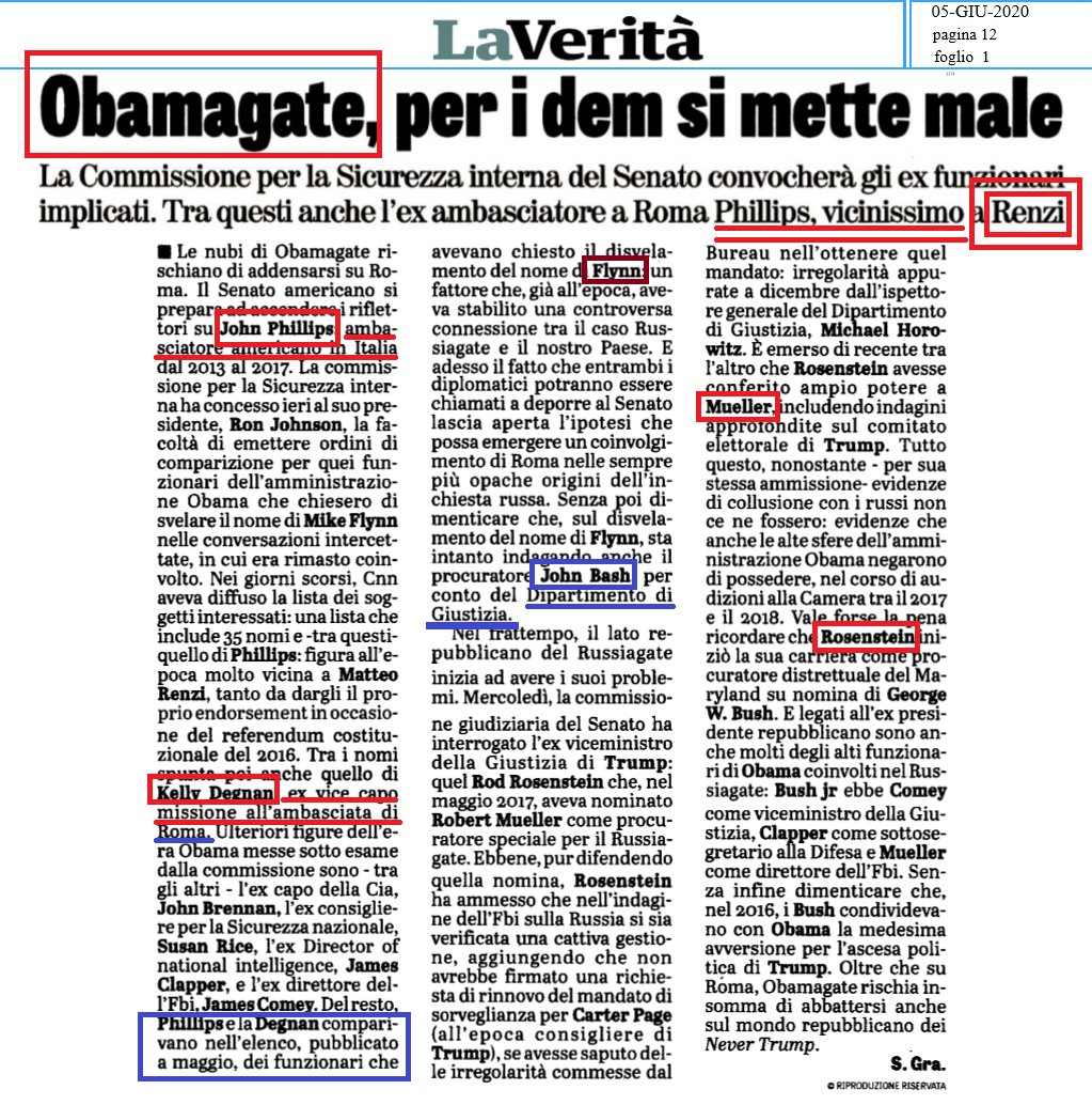 Obamagate, La Veritá sets focus on US Embassy Rome. Both Ambassador John Phillips and Deputy Chief of Mission Kelly Degnan, now in the crosshairs of US Senate cmtes.  Links to Renzi under screening.  More names to come out of Via Veneto... 😉  @joehoft @gatewaypundit @jimmomo https://t.co/SWMhOXm0fM
