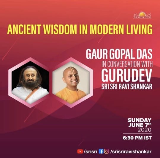 I am quite blessed to moderate the chat between these 2saints. I would like to crowd source some Qs. Could you please study these personalities (&whats available of their wisdom online) &send some good questions in the comments below for either of them?! 🙏 @SriSri @gaurgopald https://t.co/D2zp6zaqaD