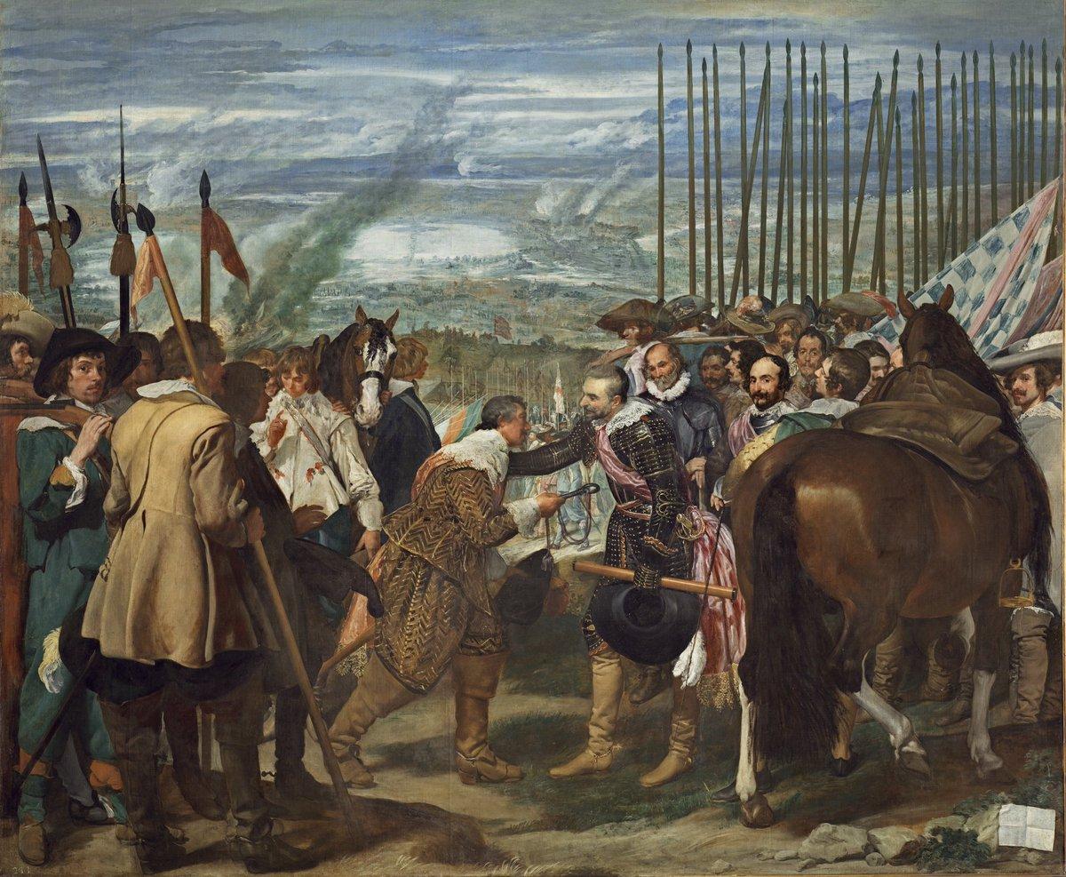 Hoy hace 395 años de la rendición de Breda, escena que Velázquez inmortalizó para siempre. Los Tercios culminaron el asedio de una plaza que parecía inexpugnable. Una hazaña que está en los anales de la historia Nuestro recuerdo: https://t.co/xhQSu94bbg https://t.co/2q6TqCYOuy