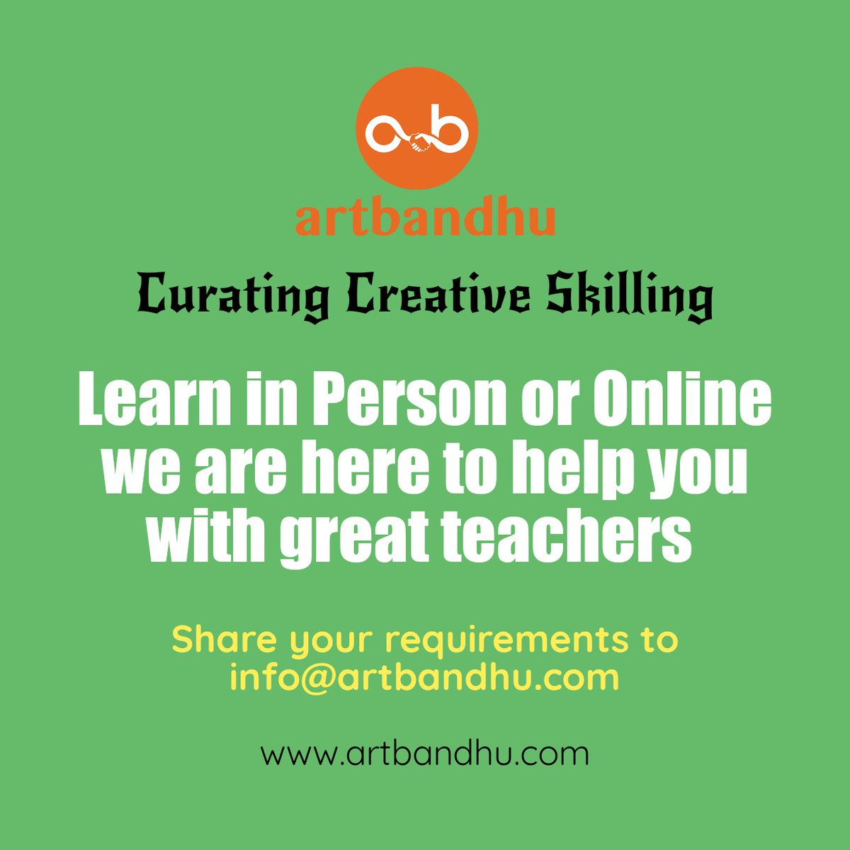 Looking for art teachers ? Share your requirements to info@artbandhu.com or post your creative needs via online form on http://www.artbandhu.com #art #creative #passion #hobby #learning #skilling #students #design #music #dance #actor #freelancer #gig #teacher #online #artistpic.twitter.com/iBJpPnEk5r