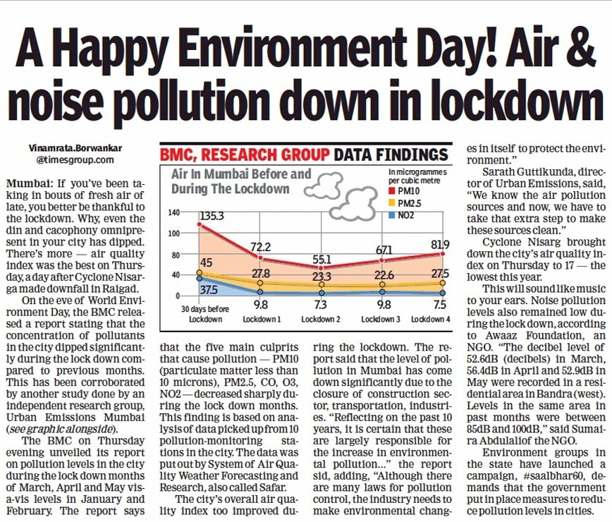 A Happy #EnvironmentDay2020 indeed but at a huge cost. But let's focus on the future @AUThackeray @CMOMaharashtra How about we shift our mobility focus from vehicles to people. Lets make #Maharashtra the cleanest, greenest & healthiest state. #SaalBhar60 #WorldEnvironmentDay2020 https://t.co/c8vnghGM3b
