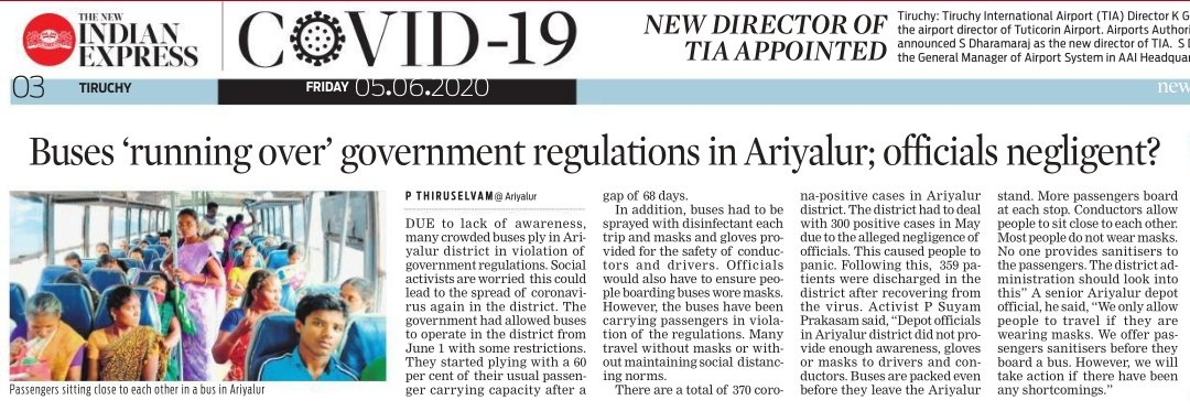 Due to lack of awareness, many crowded buses ply in #Ariyalur district in violation of government regulations. Social activists are worried this could lead to the spread of #coronavirus again in the district.#TamilNadu @xpresstn @NewIndianXpress https://t.co/e1NEtAd5Yi