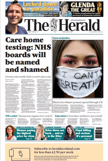 Page 1of3 -  #COVID19 #coronavirus #Glasgow #Edinburgh #London #Brussels #Paris : It's another half #lockdowm #FridayMorning . You don't have to ask what the #uk/#Scottish #National #newspapers are leading with: https://t.co/BfGrDdq4mw
