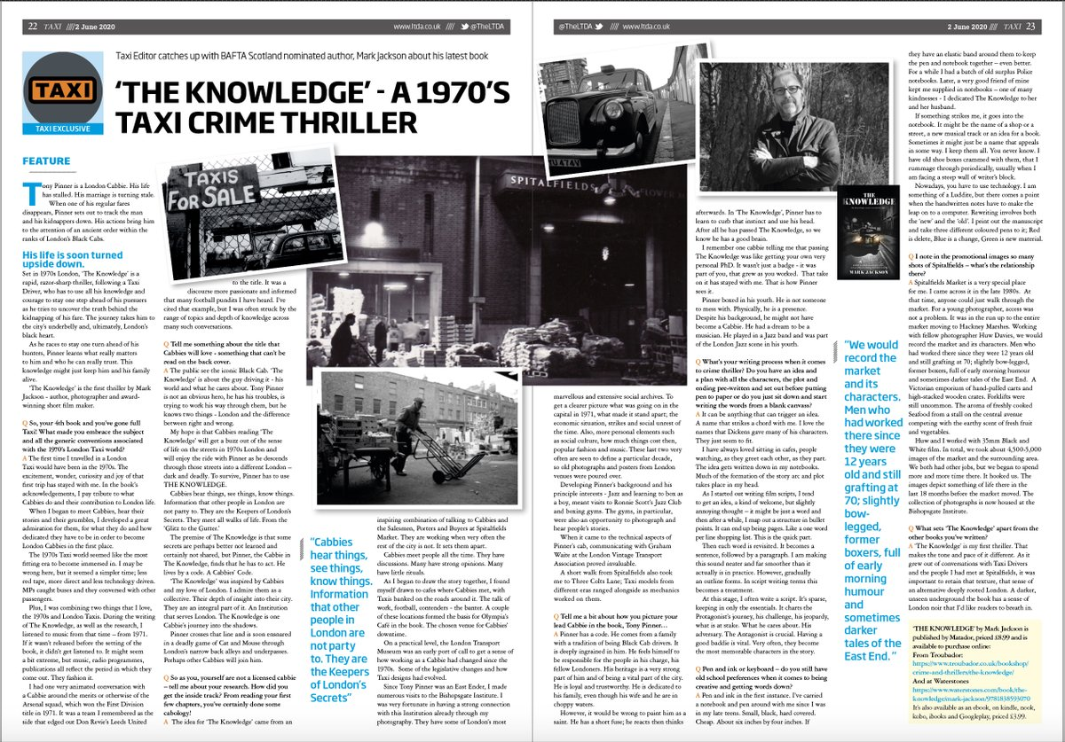 If you've got a mo, please check out this feature in TAXI. Thanks to @TheLTDA @CenturyOnePub  #London #Cabbie #Crime #thriller https://t.co/7cXxpWQnVU