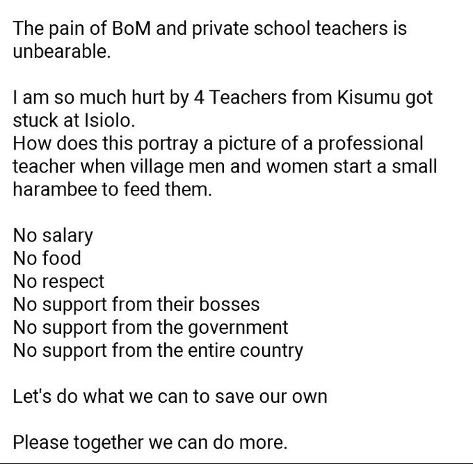 A screenshot showing how BOM teachers are suffering, silently.