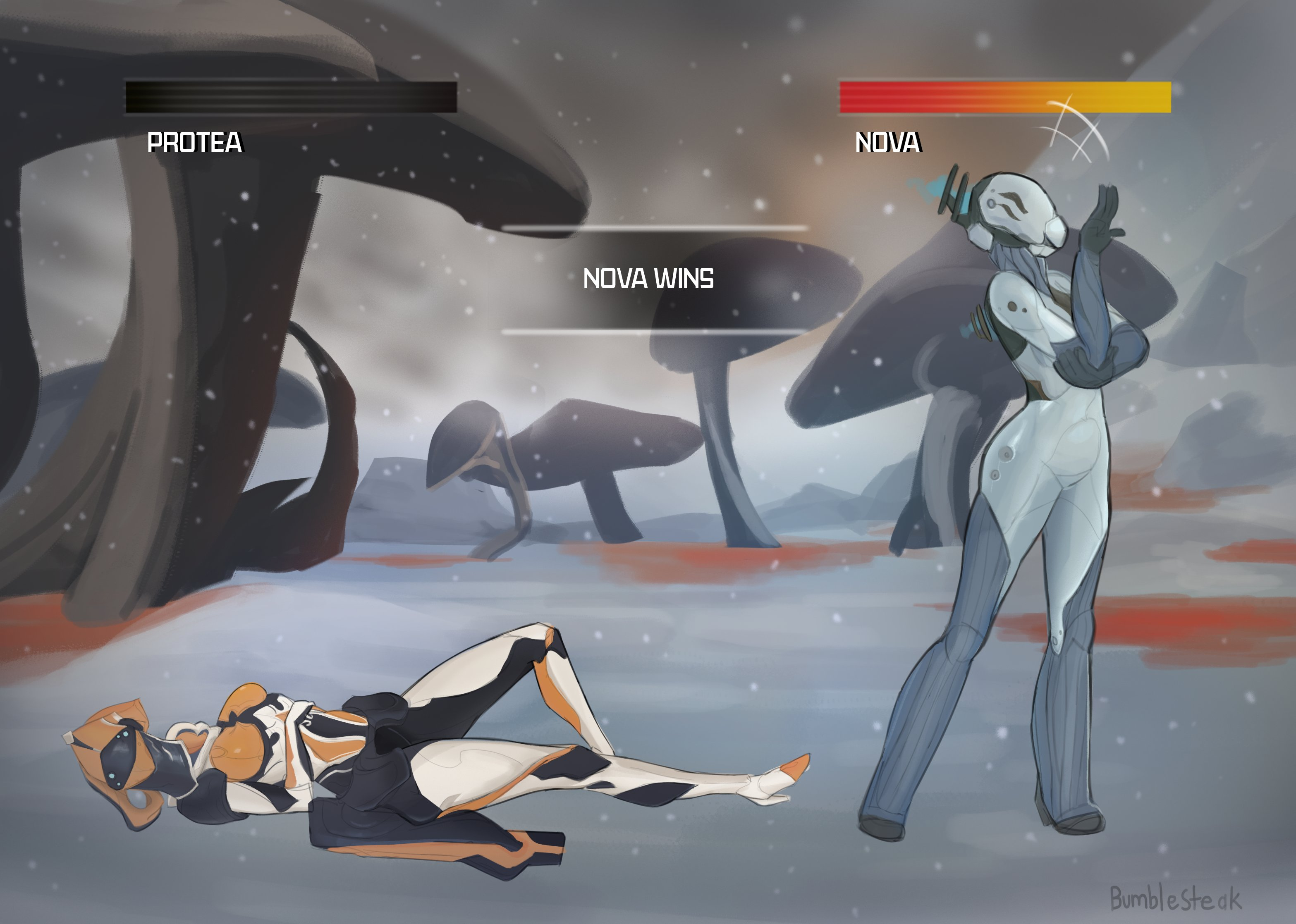 Frame Fighter Protea Vs Nova Fan Art Warframe Forums Its what i finished up in stream today and.shading is not my forte so i didn't bother. frame fighter protea vs nova fan