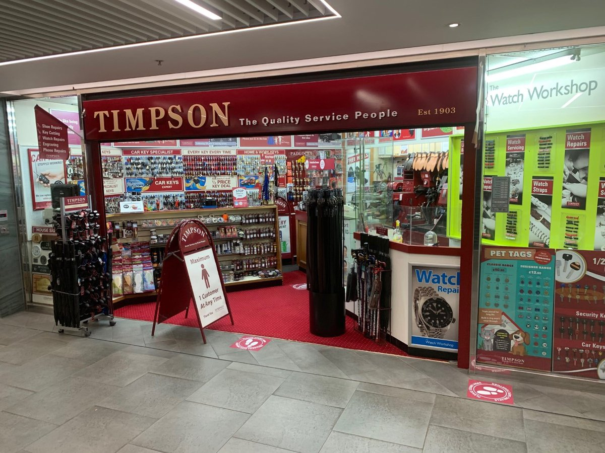 Our @Timpson_Ltd store is looking great and ready to re-open today! Open from 8.30am with cash and contactless payments only. Social distancing, queueing and sanitising will all be in place for customers safety.  #Timpson #CliftonDownSC #SocialDistancingpic.twitter.com/ZLanDCoIe7